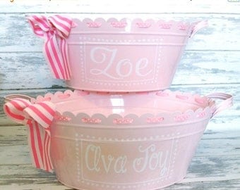 ON SALE Personalized Monogrammed Scalloped Ribbon Oval Tub in Light Pink