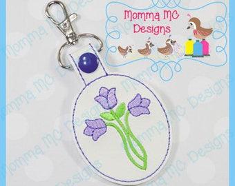 Tulip Cross Key Fob Snap Tab Machine Embroidery Design