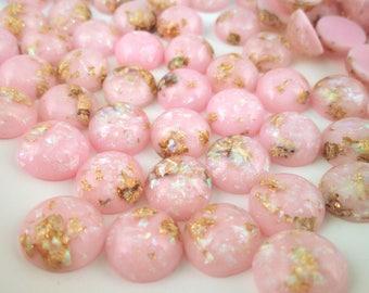 10 12mm Pink Resin Foil Cabochons, color cabs G230
