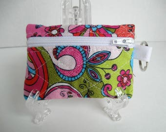 Groovy Quilted Coin Purse - Paisley Print - Change Purse - Small Zippered Pouch - Coin Purse Key Chain - Ear Bud Case