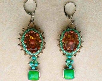 Beadwoven Dangle Earrings, Beaded Topaz Rhinestone Earrings, Sterling Silver Leverback, Teal Jasper Stone, Goldstone Cabs by enchantedbeads