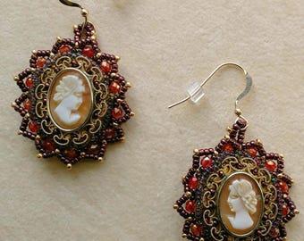 Beadwoven Carved Cameo Earrings, Beaded Earrings, Red Firepolished Crystal Earrings, Gold Filled Earrings, Dangle Pierced by enchantedbeads