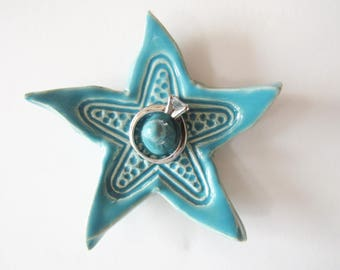 Starfish Shaped Ring Holder, Ring Dish, Ring Bowl, Turquoise, Sea Isle Blue Ready to ship