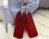 Recycled Glass earrings in Red or Bright Blue with Sterling findings