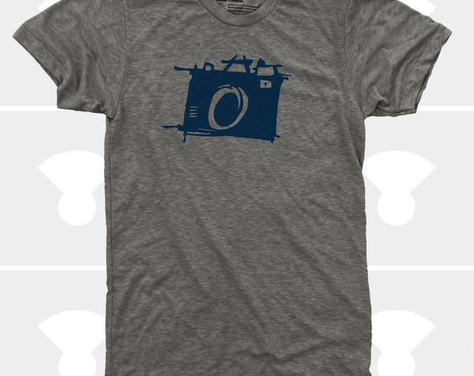 Featured listing image: Men's CAMERA Tshirt. Photography Shirt. Sketch Camera. Photographer Gift. Gift for Men. Photography Gift. Shoot Film