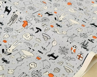 Cotton + Steel Lil' Monsters - party grey - 50cm