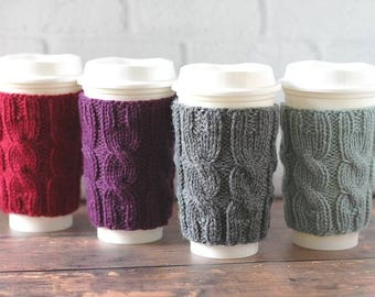 Knit Coffee Cozy, Coffee Sleeve, Cup Sleeve, Teacher Gift, Bridesmaid Gift, Cabled Coffee Cup Cozy, Reusable Coffee Cozy, Stocking Stuffer