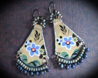Tin Earrings. Vintage Tin Repurposed.Frida Kahlo Inspired. Bohemian Dangle Earrings