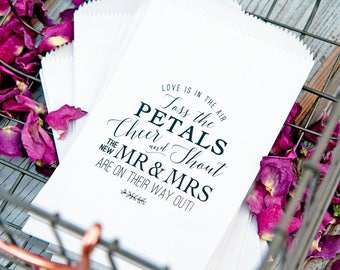 Wedding Petal Toss Bag, White send off Bags, Cheer and Shout Poem Design -  Rose Petal Toss - 20 White Bags
