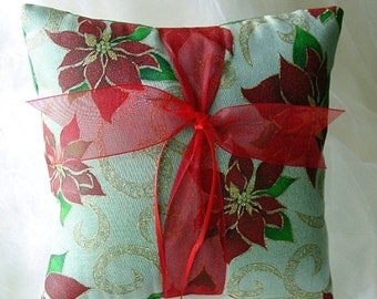 On Sale Happy Holidays-Christmas-New Year Wedding Ring Pillow-Green with Gold Swirls & Red Poinsettias-Holiday Wedding-Ring Bearer-Ring Bare
