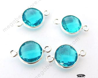 4 pcs 8mm Swiss Blue Topaz Hydro Sterling Silver Bezel Connector 2 loops F391S