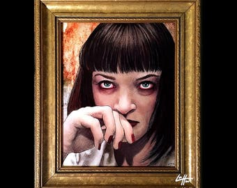 I Said Goddam. Goddam - Original Drawing - Pulp Fiction Mia Wallace Quentin Tarantino Heroin Drugs Overdose 90s Guns Uma Thurman Pop Art