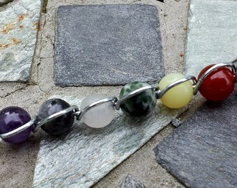 7 Chakra Pendant. Natural Gemstones, available in different chakra choices. Metaphysical, Meditation & balance