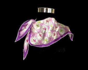 Vintage Silk Self Tie Neck Scarf, Pruple Print, Ballerinas, Rolled Edges, Made in Japan, 1950's