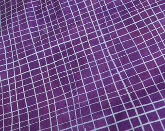 Skinny Stripe Grids Hand Dyed and Patterned Cotton Fabric in Wisteria and Orchid
