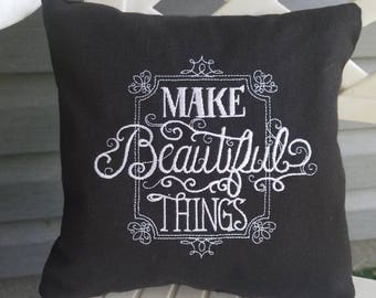 Black and white embroidered Cotton pillow - 7x7 - Make Beautiful Things