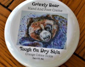 Organic, Hand N Foot Creme, Body Creme, Grizzly Bear, Grizzly Bear Card, Orange Scent, Beauty Products, Bear, Gift For Wife, Guy Gift, Card