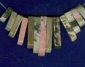 Rhodonite Graduated Fan, Pink Rhodonite Mini Cleopatra Collar Beads 13pc Stick Bead Set C Quality 5173B