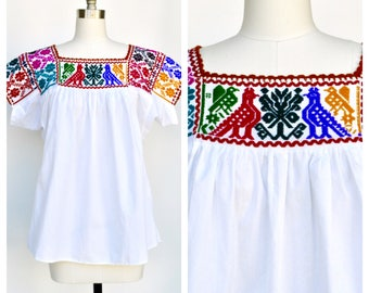 mexican ethnic BIRDS embroidered top / FRIDA blouse
