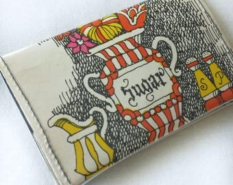 sugar sweet wallet, handmade from a vintage cookbook, novel card holder