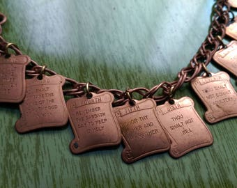 Vintage Coppery TEN COMMANDMENTS Charm Bracelet
