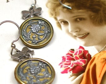"""1800s Antique BUTTON earrings, Victorian flowers on silver. 1.5""""  Unique present, gift."""