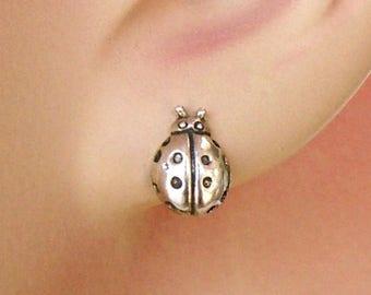 SALE Earrings Lady Bug Sterling Silver Minimal Ear Studs no. 3472
