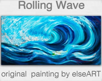Art, painting, oil painting, Blue Rolling Wave, landscape painting, wall decor canvas, oil painting, abstract painting, by Tim Lam, 48""