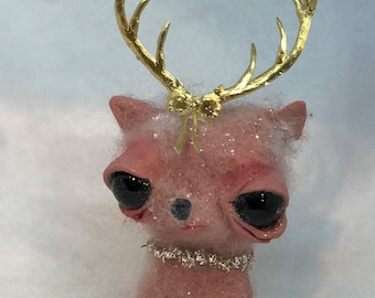 Pinky the reindeer  Original one of a kind ornament
