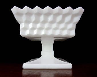 White Milk Glass Open Square Compote, Candy Dish Or Nut Bowl
