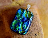 Blue Green Ripples Fused Dichroic Glass Pendant And Necklace