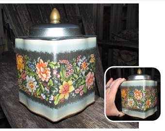 Vintage Riley's Toffee Tin English Candy Box, Halifax England, flower design, flowers, storage container