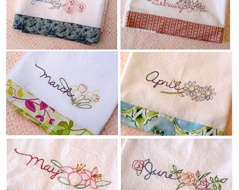 Kitchen Towels Flower Border Set PDF Hand Embroidery Pattern Instant Digital Download