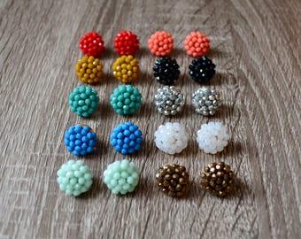 Beaded Studs, stud earrings, small stud earrings, earring cluster earrings