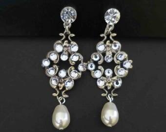 Bridal Clip On Earrings Crystal and Swarovski Pearl Wedding Earrings Vintage Glamour Rhinestone post Fancy Anniversary Bridesmaids Gift Stud