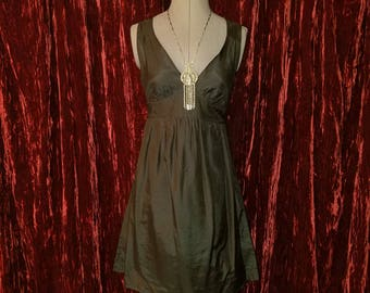 Vintage Black Silk Sleeveless Cocktail Party Dress, Small, Pin-Up