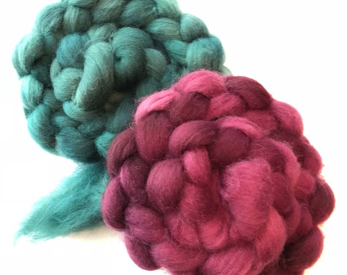 Hand Dyed Cheviot Wool top. Roving.  Spin. Felt. Handspun  Soft and easy to work with. 2 braids  1/2lb. Ruby Green