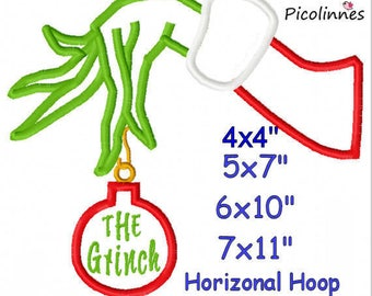 GRlNCH Arm Christmas Machine Applique Designs Embroidery Pattern Instant Download 4x4 5X7 6X10 7X11