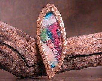 Rustic Resin Pendant Bronze Bezel and Original Artwork Elephant Charm Divine Spark Designs SRA