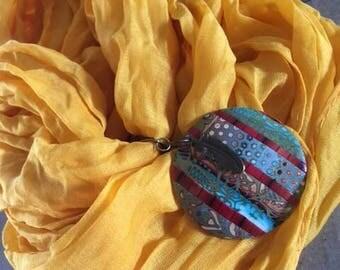 jewelry scarf - polymer clay pendant