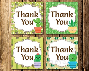 Cactus Thank You Tags - Instant Download