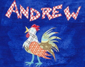 Personalized Large Royal Blue Velour Beach Towel with Rooster, Pool Towel, Kids Bath Towel, Camp Towel, Baby Towel, Baby Gift, Swim Towel