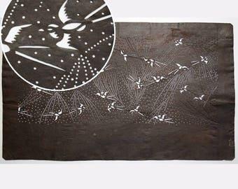 "Vintage Japanese Katagami Stencil Persimmon Paper Meiji Period ""Antique Sparrows"""