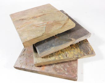 Reserved for Margaret NATURAL SLATE COASTERS - 4 Assorted Colors - Heavy, Absorbent, Work Great, Do Not Stick, Natural Stone Coasters,Drinks