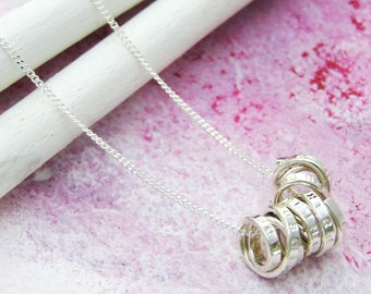 Personalised Silver Scroll Necklace | Organic Sterling Silver Pendant | Hand stamped Necklace | Unique Custom Necklace | Personlized Jewelry