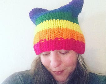 Pussycat hat pussyhat womens march feminist kitty cat knit hat pussy hat kitten hat rainbow equality lgbtqia