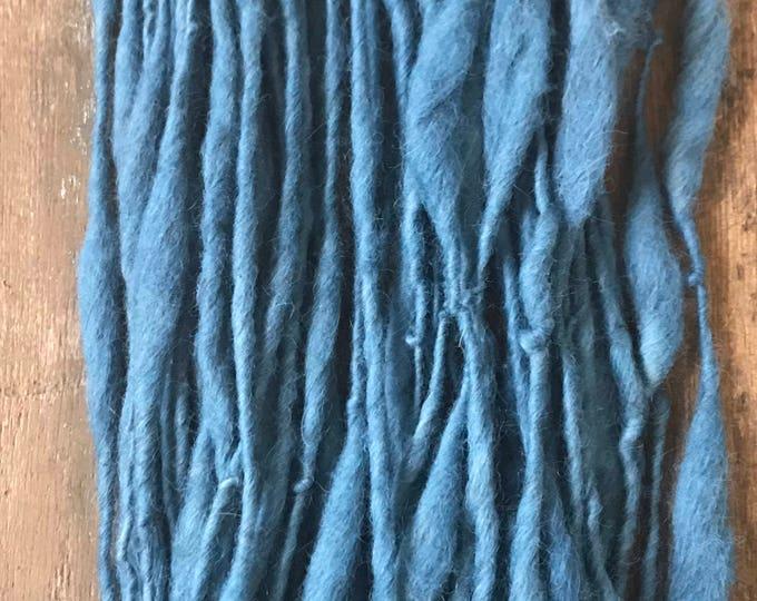 Rustic Indigo yarn -  handspun wool mohair yarn, 56 yards, bulky weight handspun, plant dyed, indigo blue yarn,