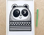 A4 Happy Panda Screen Print by Jane Foster  - hand printed signed