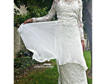 Vintage JESSICA MCCLINTOCK Lace Wedding Dress Long Sleeve Bridal Gown S 5/6