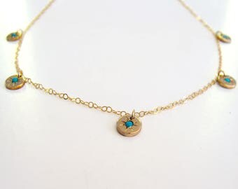 gold filled turquoise Starry - eyed charm necklace